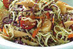 Asian Cabbage Salad with Garlic Sesame Dressing