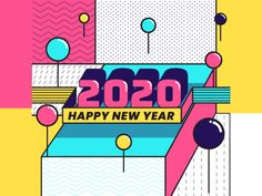 Happy New Year 2020 by Insigniada - Branding Agency on Dribbble New Year Illustration, Branding Agency, Happy New Year 2020, 2020 Design, Cool Fonts, Cool Stuff, News