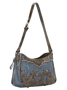 Hand Tooled Leather Purse Handbag - Distressed  Charcoal / Denim Blue $227.99 + Free Shipping! The Wanted Wardrobe | #Handbags Online | A Unique Ladies #Fashion Boutique #shop #wantedwardrobe #western