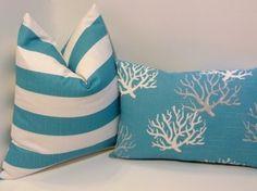 Pair of Pillow Covers in Coastal Blue Beach House Decor