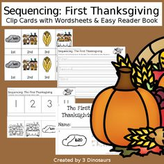 First Thanksgiving & Cooking A Turkey: Sequencing Sets for Thanksgiving! Sequencing Cards, Story Sequencing, Sequencing Activities, Hands On Activities, Writing Activities, Thanksgiving Stories, Thanksgiving Activities For Kids, Thanksgiving Pictures, First Thanksgiving