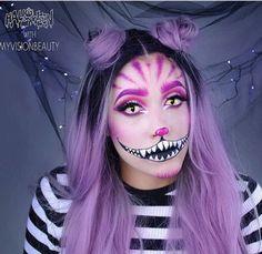 Halloween inspo Grinsekatze My Vision Beauty Cat Halloween Makeup, Halloween Inspo, Cute Halloween Costumes, Halloween Makeup Looks, Fairy Costumes, Cheshire Cat Makeup, Cheshire Cat Costume, Cheshire Cat Halloween, Cosplay Makeup