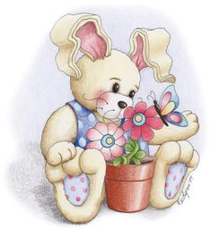 Yay it's Easter. Cartoon Drawings, Animal Drawings, Bunny Painting, Cute Animal Illustration, Cute Clipart, Country Paintings, Tatty Teddy, Gif Animé, Vintage Easter