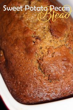 Sweet Potato Pecan Bread - I really prefer the taste of sweet potatoes to pumpkin, so this delicious sounding recipe will probably become a favorite for fall at my house! (This was delicious! Served it with honey cinnamon pa Köstliche Desserts, Delicious Desserts, Dessert Recipes, Yummy Food, Health Desserts, Drink Recipes, Bread Cake, Dessert Bread, Torta Bread