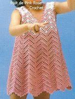 I really like the stitch used...easy to follow crochet graph............................. \ PINK ROSE CROCHET /: Vestido de Menina. Crochet Toddler Dress . Gráfico -