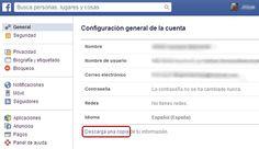 Descargar una copia de informacion de una cuenta de facebook hackeada