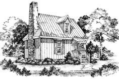 Cabins & Cottages Under 1,000 Square Feet: Cypress View Plan #735