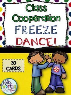 Class Cooperation Freeze Dance, Brain Break, Elementary Music Movement ideas, teamwork, team building to music--what a great idea!