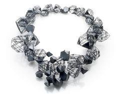 "Jee Hye Kwon - Necklace: Architectural - Oxidized silver, diamonds - 10.5""x9""x2.25"""
