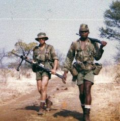 Charlie Pope collection. 4 Indep. Coy Rhodesia Regiment on patrol 1977.