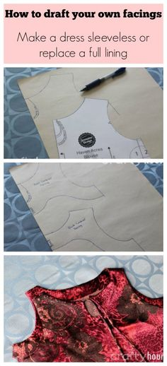 This shows you how to create your own one or two piece facings.  How to make a sleeved dress sleeveless or how to make a facing instead of a lining.