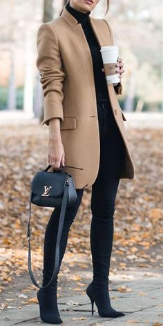 Mode mantel Solid Color Stand-Up Collar Pocket Coat Winter Fashion Outfits, Work Fashion, Autumn Winter Fashion, Fall Outfits, Casual Outfits, Color Fashion, Fashion Ideas, Winter Outfits 2019, Fashion Clothes