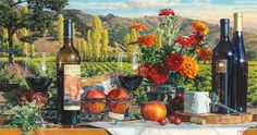 "This is a hyper realistic watercolor still life painting by Eric Christensen titled ""From the Vineyard II""."