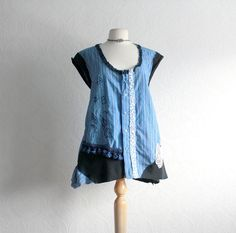 Blue Bohemian Tunic Plus Size Shirt 1X by BrokenGhostClothing, $59.00