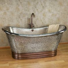 "72""+Anastasia+Mosaic+Nickel-Plated+Copper+Double-Slipper+Tub+"