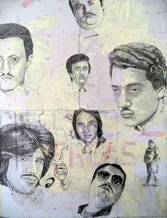 """""""mio fratello è figlio unico"""" by jan schmelcher, pencil on found paper mounted on wood, 65 x 50 cm"""