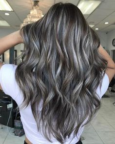 Brown Hair With Silver Highlights, Grey Brown Hair, Brunette Hair With Highlights, Light Brown Hair, Light Hair, Grey Hair With Blonde Highlights, Dark Grey Hair Color, Natural Highlights, Ash Brown