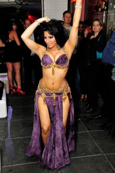 Purple and gold belly dance costume