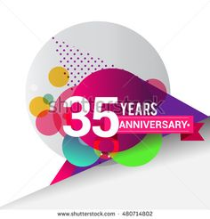 35 Years Anniversary logo with colorful geometric background, vector design template elements for your birthday celebration.