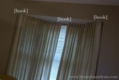 Under The Table and Dreaming: Make Your Own Bay Window Curtain Rod 1/2 inch Electrical Conduit {length depending upon window size}, 3 Adjustable Curtain Rod Brackets, Krylon Satin Nickel Spray Paint, finials of choice