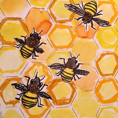 2nd grade honey bees- these have been a big hit! I am posting this one from my last class so you can see how value played into the lesson by the third time I had taught it.