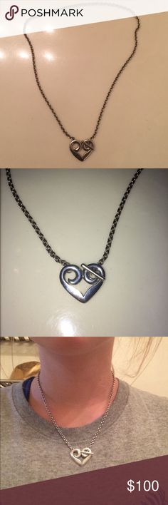 James Avery Heart Toggle Necklace I know it says I sold this, but I had to cancel that order. It is back up for sale. Gently worn, very pretty. Buckles in the front. Slight wear on the back, see 4th pic. James Avery can buff it out for you! James Avery Jewelry Necklaces