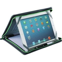 """Rest your """"case"""" with the Zoom(TM) web tech pad! This universal tablet stand's compact design merges your padfolio and tablet case into one, holding all iPads and most 10"""" and 11"""" tablets including the Galaxy and Surface. You can view your tablet in a standard padfolio setting or turn the case into an angled stand. It features a zippered closure, business card pockets, cord organization straps, a pen or stylus loop and 30-sheet pad."""