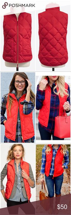 J CREW Red Puffer Vest - NWT New with tags, gold zipper. J. Crew Factory Jackets & Coats Puffers