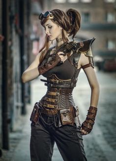 This tough, leather armored Steampunk Lara Croft look. From the Steampunk Fashion Guide's Guide to Corsets - Underbust corsets: Armed Steampunk Girl Steampunk Couture, Style Steampunk, Victorian Steampunk, Steampunk Clothing, Steampunk Outfits, Renaissance Clothing, Casual Steampunk, Gypsy Clothing, Steampunk Images