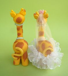 Giraffe cute cake topper for a wedding cake with by PerlillaPets, $72.00