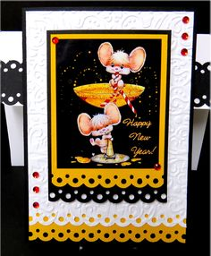 Mice with Champagn New Year Card - Scrapbook.com