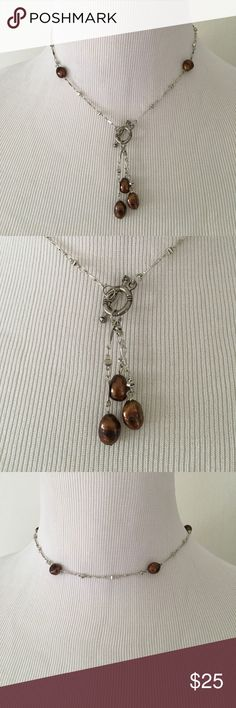 "Brown Freshwater Pearl Lariat necklace/ earrings Gorgeous 16"" Silver and Freshwater pearl lariat necklace with drop earrings. Shipped in a beautiful silk pouch for the perfect gift. Jewelry Necklaces"