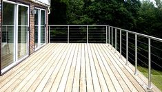 External decking balustrade, railing and                        top rail system. 48mm diameter, satin finished stainless                        steel posts and top rail. 4mm diameter tension wires.