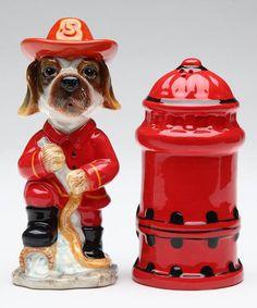 Fire Fighter Dog Salt & Pepper Shakers #zulily #zulilyfinds