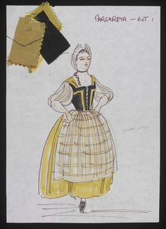 The School for Fathers (Margarita). Sadler's Wells. Costume design by Anthony Holland. 1976 Costume Design Sketch, Wells, Margarita, Fathers, Holland, Opera, Stage, Theatre, Apparel Design