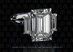 Three Stone Emerald Cut Diamond Engagement Ring - r847. 2.5-3 carats, with multiple bands on both sides