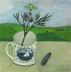 Debbie George.  Boat cup and Jay feather. www.debbiegeorge.co.uk