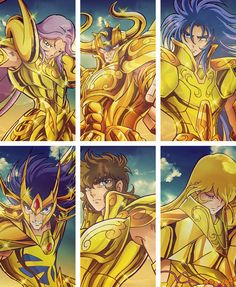 Caballeros de Oro: Aries, Tauro, Geminis, Cancer, Leo y Virgo Anime Fantasy, One Ok Rock, Big Heroes, Manga Anime, Virgo, Knights Of The Zodiac, Otaku Mode, Cartoon Games, Anime Kawaii