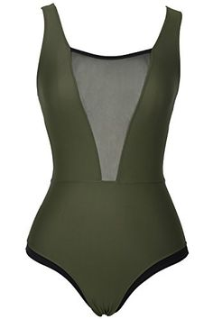 JoyBella Solid Color Deep V neck One Piece Swimsuit Bikini Set Bathing Suit Beach Swimwear Monokini Dark Green L US 1214 *** You can find more details by visiting the image link. (This is an affiliate link)