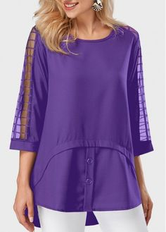 Round Neck Asymmetric Hem Mesh Panel Purple Blouse, fall hot sale, check it out at rosewe.com.
