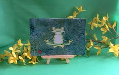 Frog-handmade recycled fabric greeting card-blank-green-frog yoga-birthday-thinking of you-just because-miss you-sorry-fits 5 x 7 frame