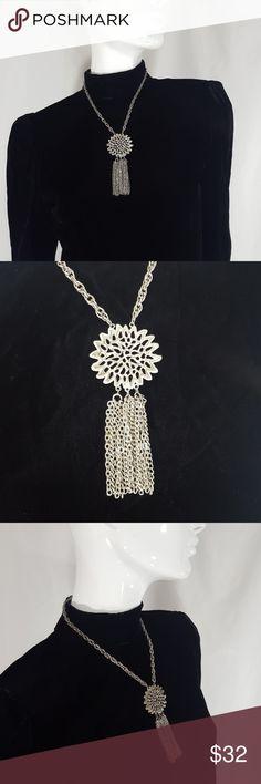 Vintage silver tassel Fringe necklace Vintage silver tassel Fringe necklace Vintage Jewelry Necklaces