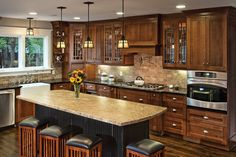 #Traditional #Craftsman #Kitchen #Design with Kitchen Island - Dura Supreme Cabinetry designed by Hahka Kitchens.