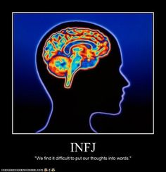 INFJ we find it difficult to put our thoughts into words verbally, I can put my thoughts into words on paper all day