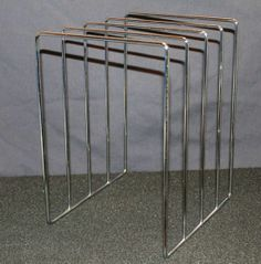 Vintage LP Metal Wire Storage Rack Stand Holder Display, made in 1960s, holds 40 Vinyl Records, $24