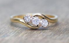 Antique 3 stone diamond ring english 18k yellow gold wedding band vintage ring