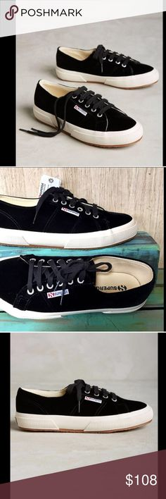 Anthropologie Superga Unisex Velvet SneakerW/8 M/6 Anthropologie Superga Unisex black Velvet Low Top Lace Up Sneakers New In Box  *  Men's 6.5  - Women's 8  Eur 39  *  USA Men's 6.5  *  USA Women's 8    Fits True To Size  Check out my other items! Be sure to add me to your favorites list! Anthropologie Shoes Sneakers