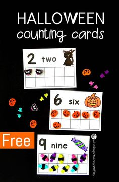 Counting Cards Halloween counting cards using erasers from Target! (can use play dough too!)Halloween counting cards using erasers from Target! (can use play dough too! Fall Preschool, Preschool Math, Fun Math, Math Activities, Preschool Ideas, Halloween Preschool Activities, Teaching Ideas, Kindergarten Centers, Math Centers