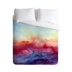 I want to make an extra large (bigger than king) duvet cover (an an extra large duvet to go with it). I like the idea of using some really inexpensive white/off-white fabric then painting it watercolor-style with dyes.