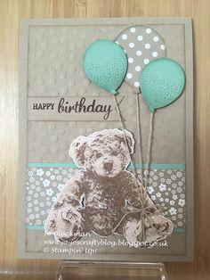 Baby Bear - Stampin' Up! Kids Birthday Cards, Handmade Birthday Cards, Baby Scrapbook, Scrapbook Cards, Card Making Inspiration, Making Ideas, Baby Girl Cards, Baby Shower Cards, Stamping Up Cards